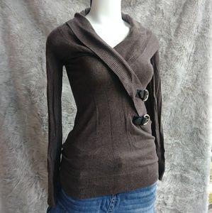 4 for $20 Brown Faux Wrap Sweater